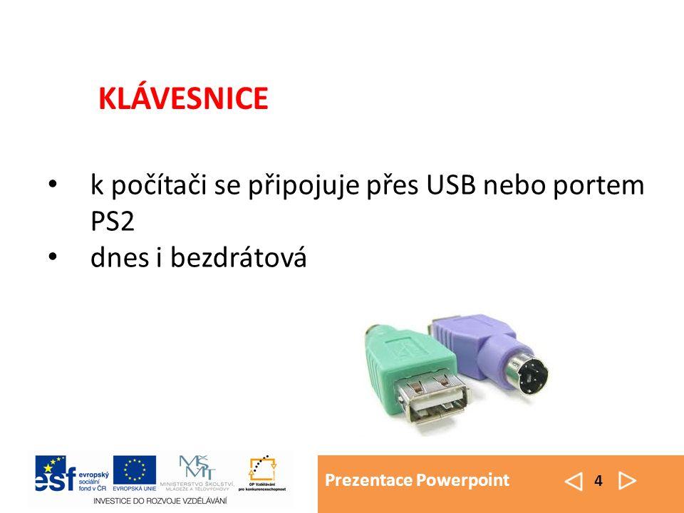 Prezentace Powerpoint 4 k počítači se připojuje přes USB nebo portem PS2 dnes i bezdrátová KLÁVESNICE