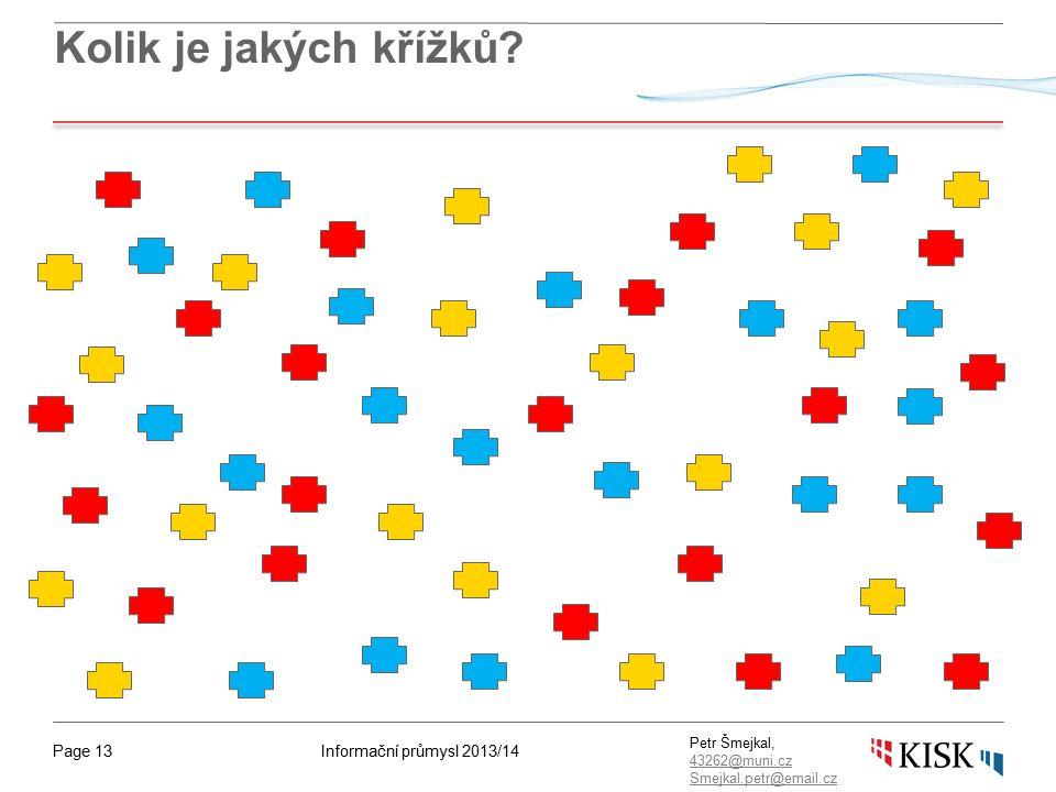 Informační průmysl 2013/14Page 13 Petr Šmejkal, 43262@muni.cz 43262@muni.cz Smejkal.petr@email.cz Kolik je jakých křížků