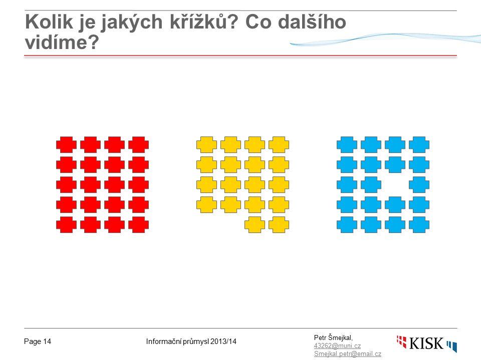 Informační průmysl 2013/14Page 14 Petr Šmejkal, 43262@muni.cz 43262@muni.cz Smejkal.petr@email.cz Kolik je jakých křížků.