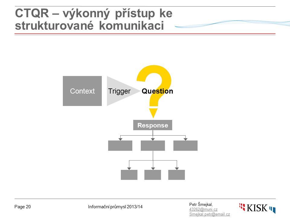 Informační průmysl 2013/14Page 20 Petr Šmejkal, 43262@muni.cz 43262@muni.cz Smejkal.petr@email.cz CTQR – výkonný přístup ke strukturované komunikaci ContextTrigger Response Question