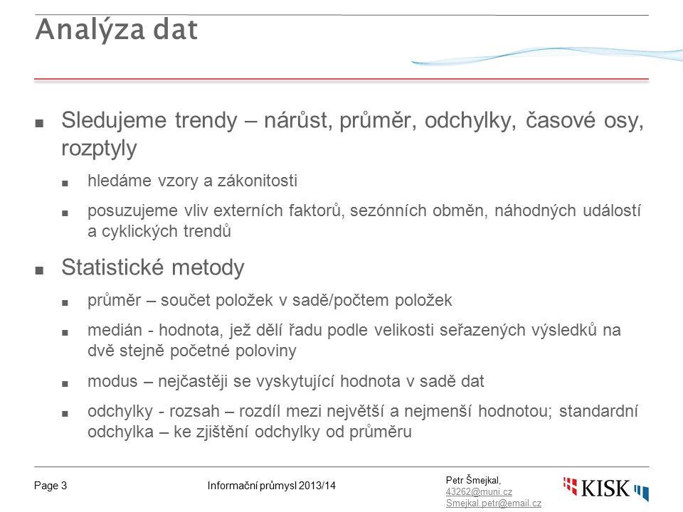 """Informační průmysl 2013/14Page 44 Petr Šmejkal, 43262@muni.cz 43262@muni.cz Smejkal.petr@email.cz Zásady pro kvalitní """"brainstorming ■ Zapsat vše, co kdokoliv řekne ■ Nehodnotit, nekritizovat řečené nápady ■ Jde o kvantitu (nikoliv o kvalitu) ■ Stavět na již řečených nápadech"""