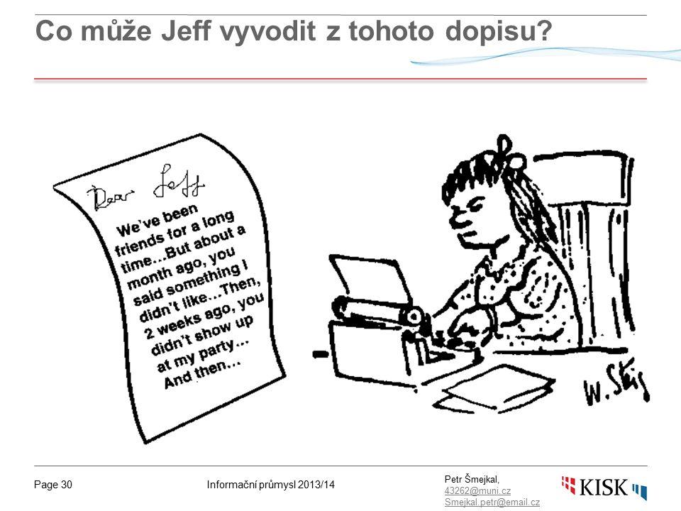 Informační průmysl 2013/14Page 30 Petr Šmejkal, 43262@muni.cz 43262@muni.cz Smejkal.petr@email.cz Co může Jeff vyvodit z tohoto dopisu?