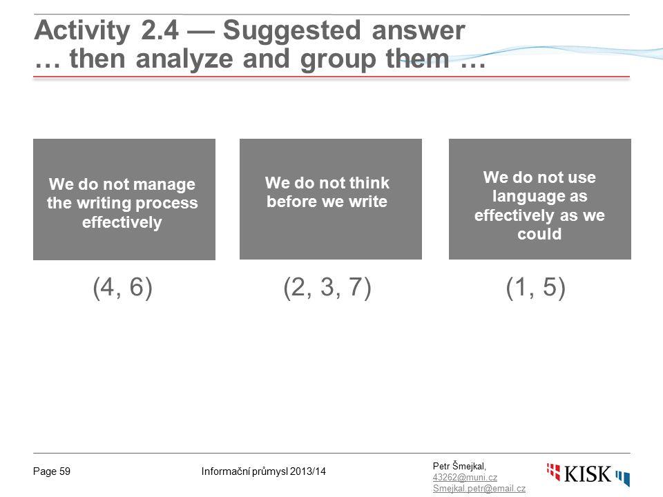 Informační průmysl 2013/14Page 59 Petr Šmejkal, 43262@muni.cz 43262@muni.cz Smejkal.petr@email.cz Activity 2.4 — Suggested answer … then analyze and g