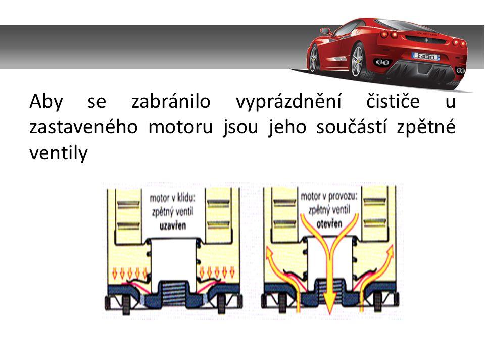 Aby se zabránilo vyprázdnění čističe u zastaveného motoru jsou jeho součástí zpětné ventily
