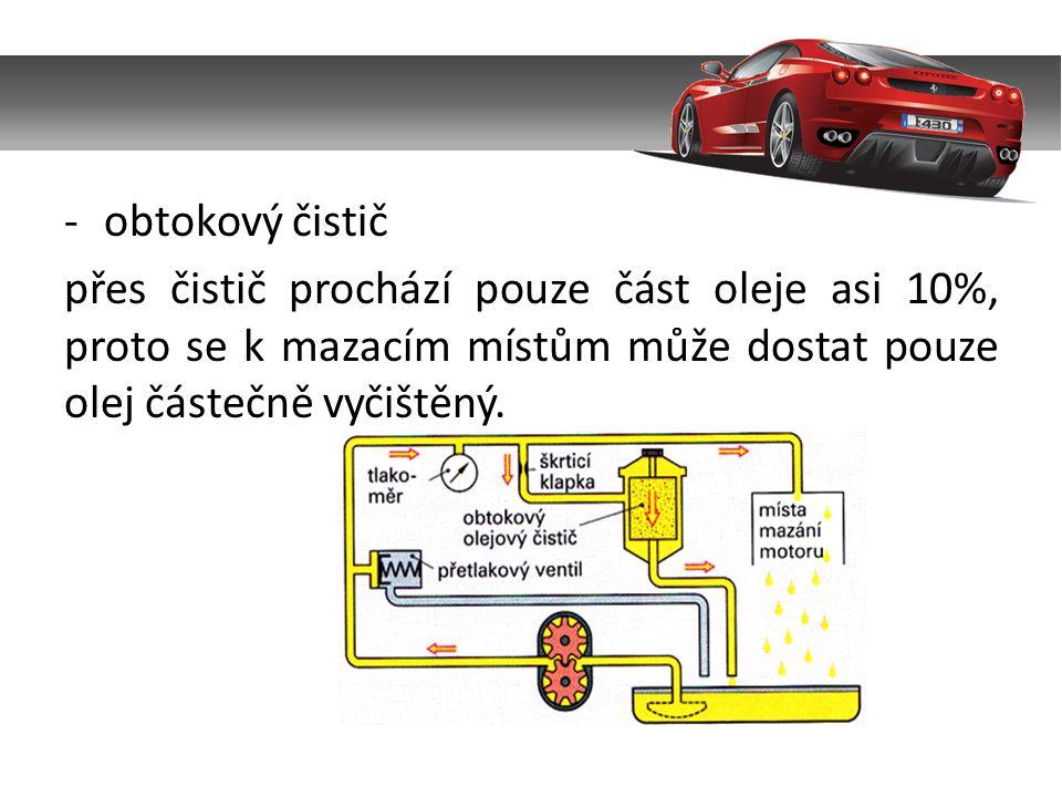 -obtokový čistič přes čistič prochází pouze část oleje asi 10%, proto se k mazacím místům může dostat pouze olej částečně vyčištěný.