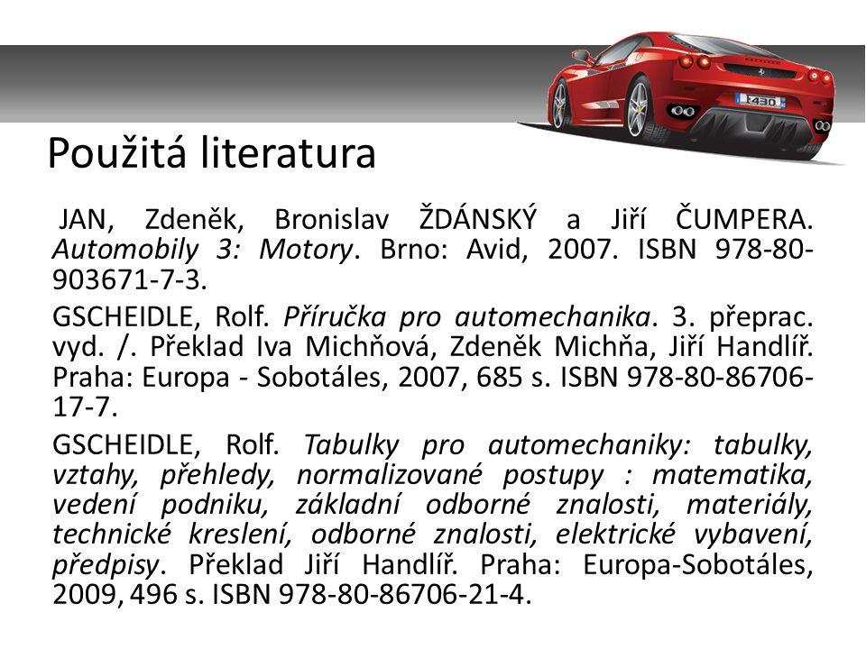 JAN, Zdeněk, Bronislav ŽDÁNSKÝ a Jiří ČUMPERA. Automobily 3: Motory.
