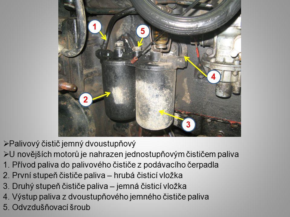  Palivový čistič jemný dvoustupňový  U novějších motorů je nahrazen jednostupňovým čističem paliva 1. Přívod paliva do palivového čističe z podávací