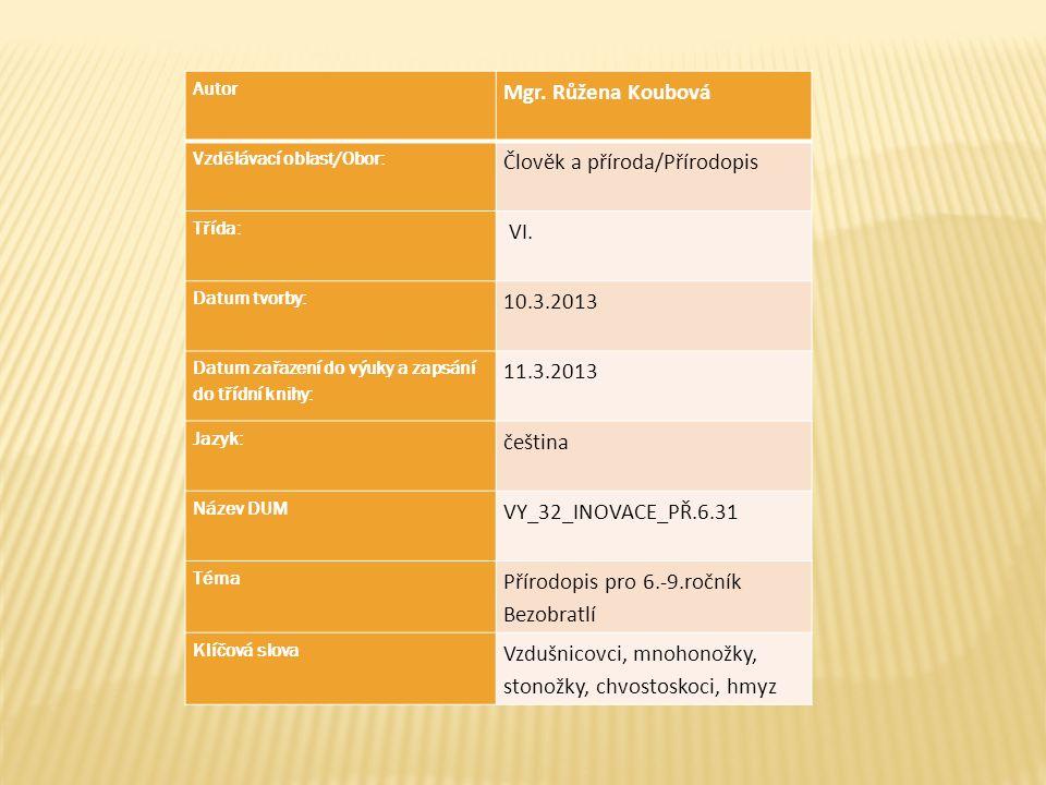 Autor Mgr. Růžena Koubová Vzdělávací oblast/Obor: Člověk a příroda/Přírodopis Třída: VI. Datum tvorby: 10.3.2013 Datum zařazení do výuky a zapsání do
