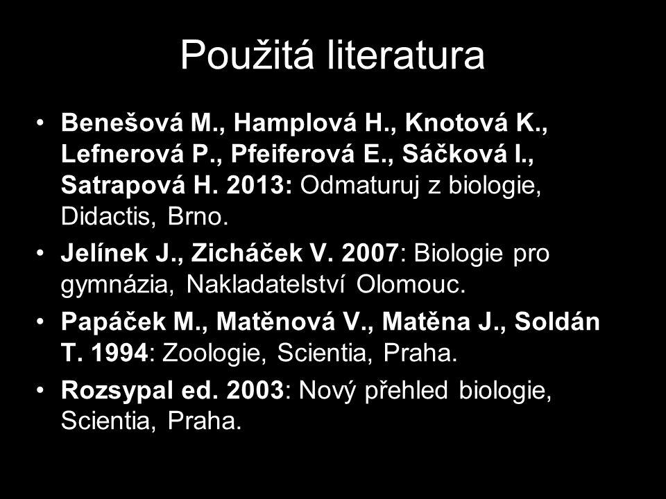 Použitá literatura Benešová M., Hamplová H., Knotová K., Lefnerová P., Pfeiferová E., Sáčková I., Satrapová H.