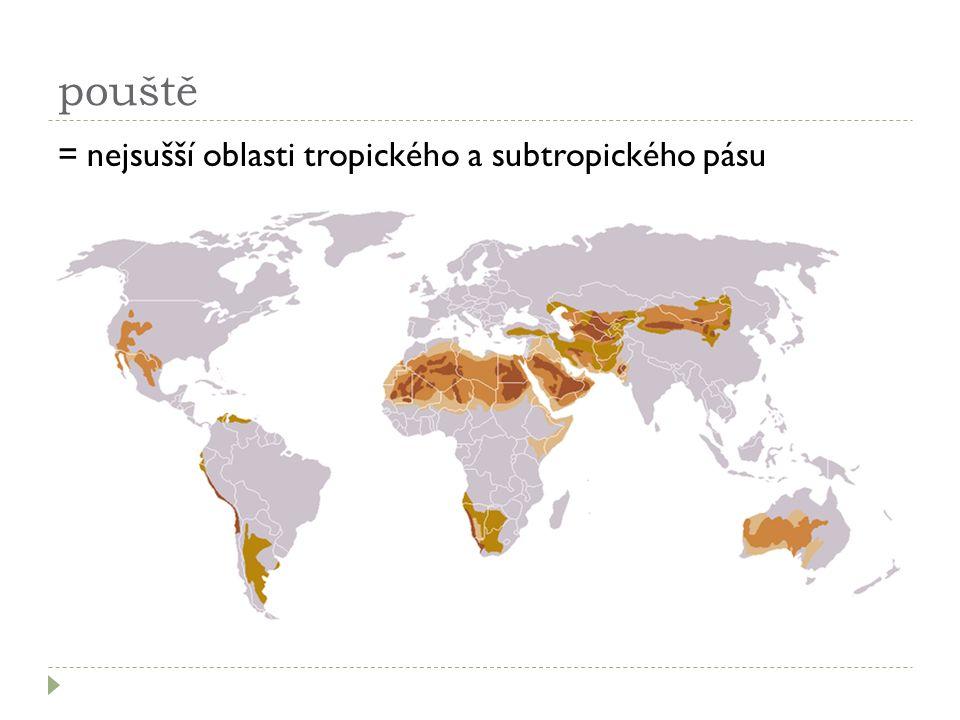 pouště =nejsušší oblasti tropického a subtropického pásu