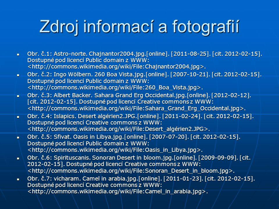 Zdroj informací a fotografií Obr. č.1: Astro-norte. Chajnantor2004.jpg.[online]. [2011-08-25]. [cit. 2012-02-15]. Dostupné pod licencí Public domain z