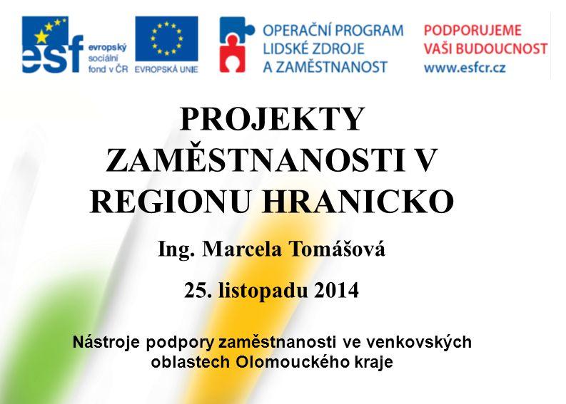 PROJEKTY ZAMĚSTNANOSTI V REGIONU HRANICKO Ing. Marcela Tomášová 25. listopadu 2014 Nástroje podpory zaměstnanosti ve venkovských oblastech Olomouckého
