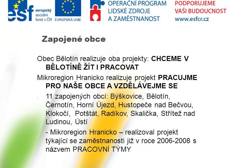 Obec Bělotín realizuje oba projekty: CHCEME V BĚLOTÍNĚ ŽÍT I PRACOVAT Mikroregion Hranicko realizuje projekt PRACUJME PRO NAŠE OBCE A VZDĚLÁVEJME SE -