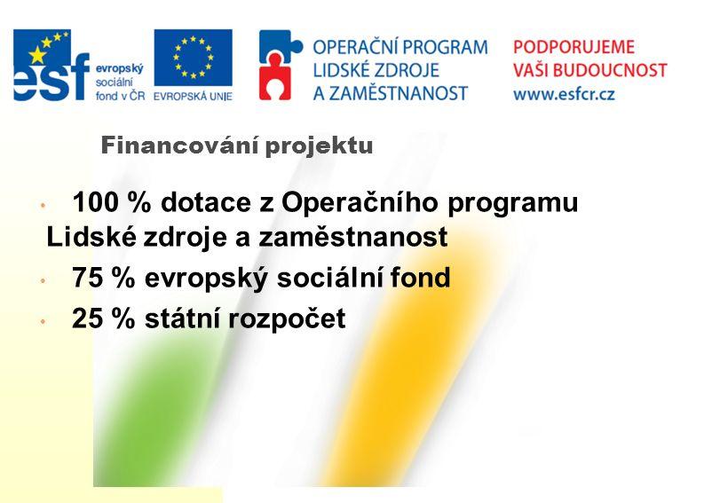 Financování projektu 100 % dotace z Operačního programu Lidské zdroje a zaměstnanost 75 % evropský sociální fond 25 % státní rozpočet