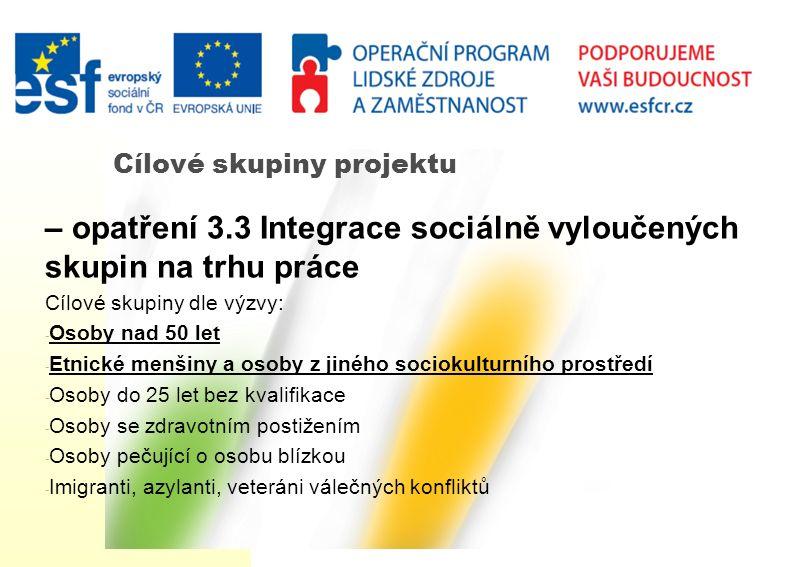 Cílové skupiny projektu – opatření 3.3 Integrace sociálně vyloučených skupin na trhu práce Cílové skupiny dle výzvy: - Osoby nad 50 let - Etnické menš