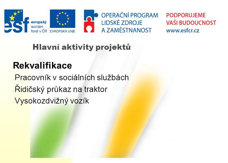 Hlavní aktivity projektů Rekvalifikace - Pracovník v sociálních službách - Řidičský průkaz na traktor - Vysokozdvižný vozík