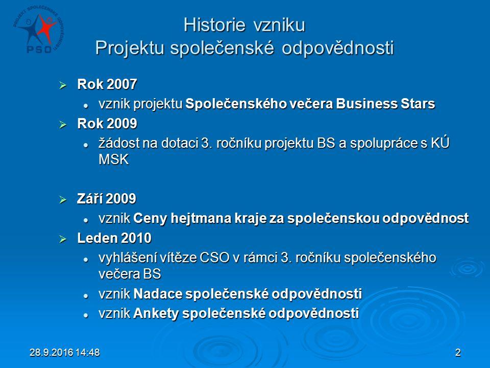 28.9.2016 14:502 Historie vzniku Projektu společenské odpovědnosti  Rok 2007 vznik projektu Společenského večera Business Stars vznik projektu Společenského večera Business Stars  Rok 2009 žádost na dotaci 3.