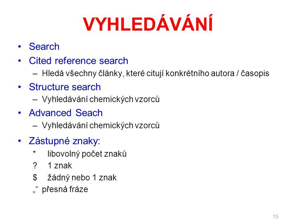 VYHLEDÁVÁNÍ Search Cited reference search –Hledá všechny články, které citují konkrétního autora / časopis Structure search –Vyhledávání chemických vz