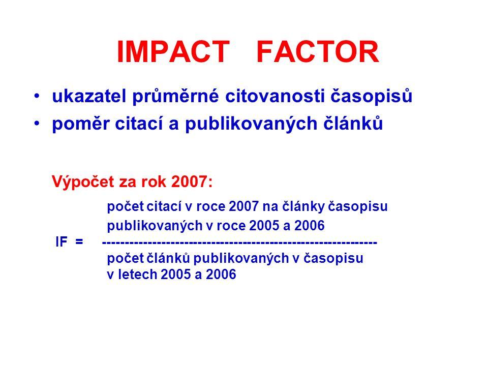 IMPACT FACTOR ukazatel průměrné citovanosti časopisů poměr citací a publikovaných článků Výpočet za rok 2007: počet citací v roce 2007 na články časopisu publikovaných v roce 2005 a 2006 IF = ------------------------------------------------------------- počet článků publikovaných v časopisu v letech 2005 a 2006