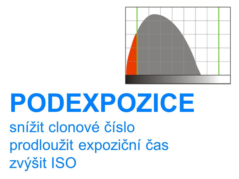 PODEXPOZICE snížit clonové číslo prodloužit expoziční čas zvýšit ISO