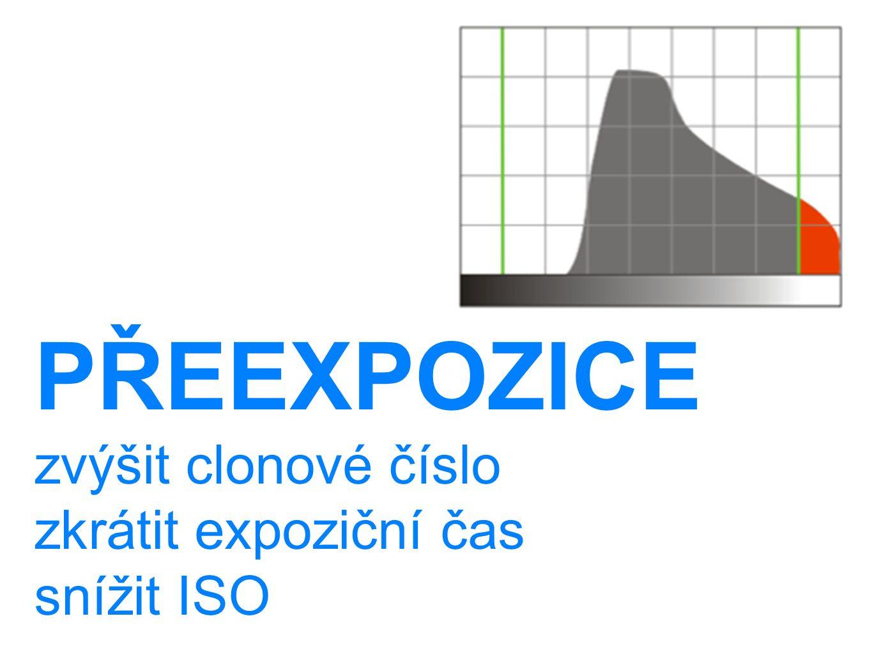 PŘEEXPOZICE zvýšit clonové číslo zkrátit expoziční čas snížit ISO