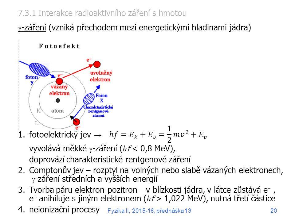 1.fotoelektrický jev → vyvolává měkké  -záření ( h f < 0,8 MeV), doprovází charakteristické rentgenové záření 2.Comptonův jev – rozptyl na volných nebo slabě vázaných elektronech,  -záření středních a vyšších energií 3.Tvorba páru elektron-pozitron – v blízkosti jádra, v látce zůstává e , e  anihiluje s jiným elektronem ( h f > 1,022 MeV), nutná třetí částice 4.neionizační procesy 7.3.1 Interakce radioaktivního záření s hmotou  -záření (vzniká přechodem mezi energetickými hladinami jádra) 20Fyzika II, 2015-16, přednáška 13