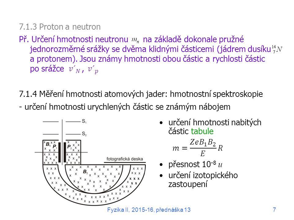 7.1.5 Rozměry a tvar Rozměr: rozptyl  -částic tabule rozptyl neutronů rozptyl elektronů Výsledky měření poloměru R jader (ve fm): Hustota jader Tvar většinou sférický deformovaná jádra mají tvar rotačního elipsoidu: 150 226 konstantní ≠ funkce ( A ), tabule Př.