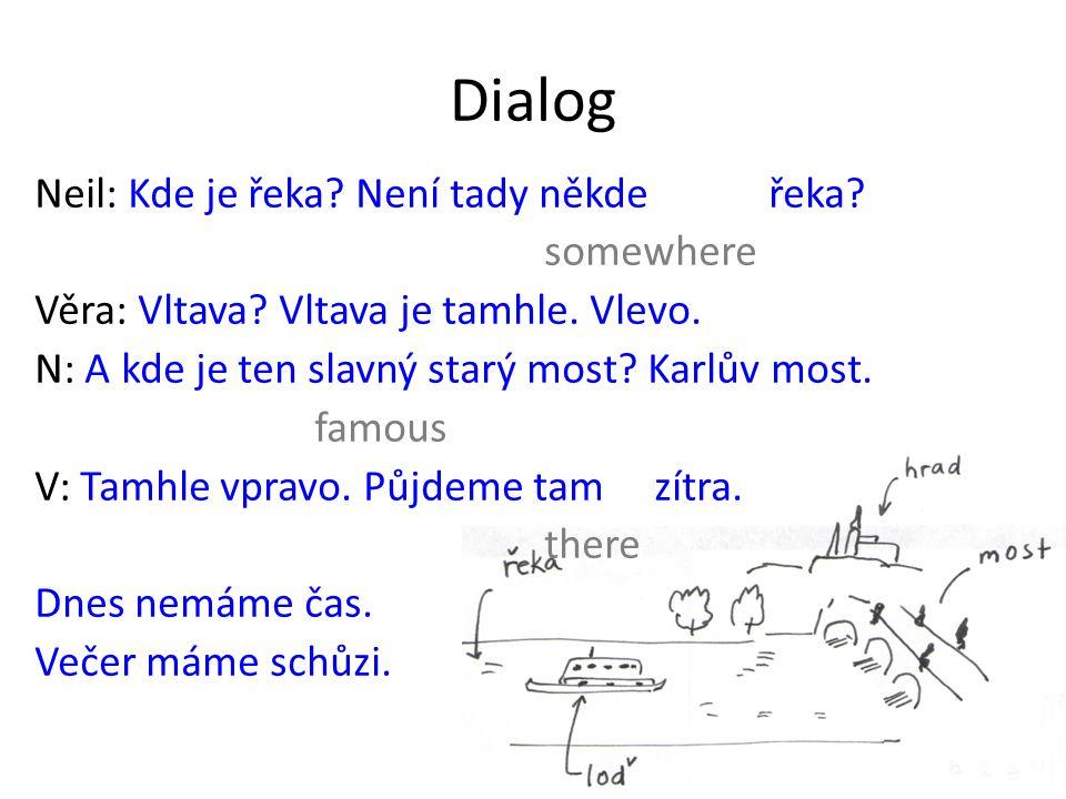 Dialog Neil: Kde je řeka. Není tady někde řeka. somewhere Věra: Vltava.