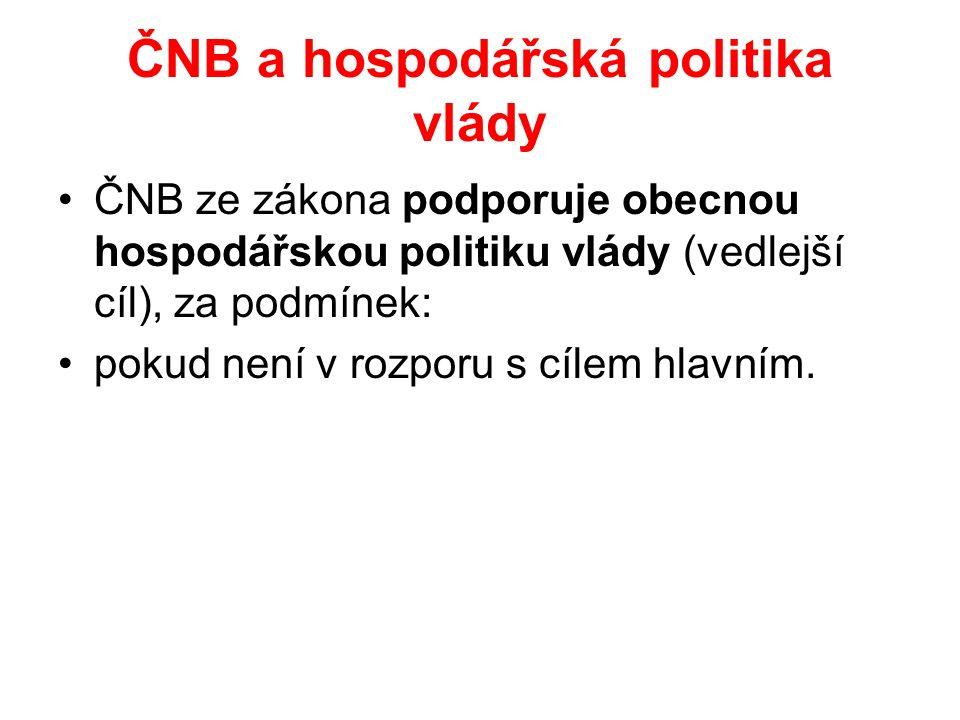 ČNB a hospodářská politika vlády ČNB ze zákona podporuje obecnou hospodářskou politiku vlády (vedlejší cíl), za podmínek: pokud není v rozporu s cílem hlavním.
