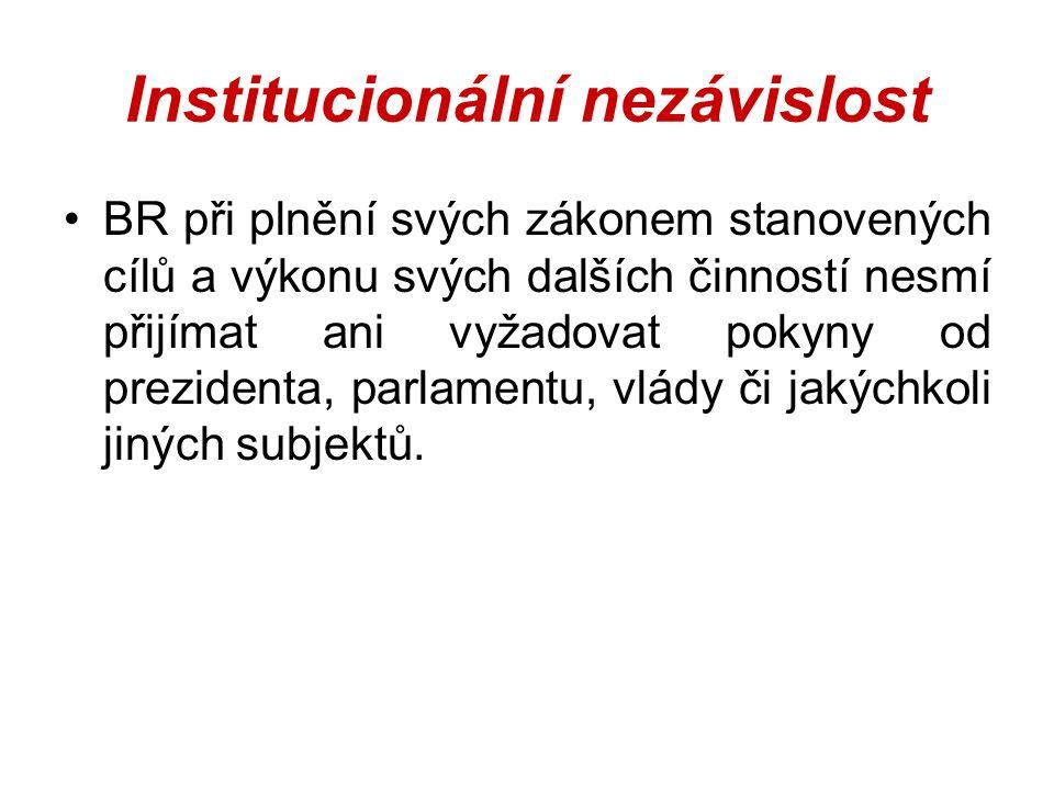 Institucionální nezávislost BR při plnění svých zákonem stanovených cílů a výkonu svých dalších činností nesmí přijímat ani vyžadovat pokyny od prezidenta, parlamentu, vlády či jakýchkoli jiných subjektů.