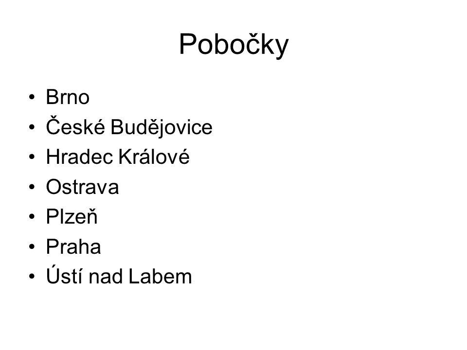Pobočky Brno České Budějovice Hradec Králové Ostrava Plzeň Praha Ústí nad Labem
