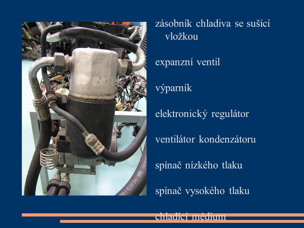 zásobník chladiva se sušící vložkou expanzní ventil výparník elektronický regulátor ventilátor kondenzátoru spínač nízkého tlaku spínač vysokého tlaku chladící médium