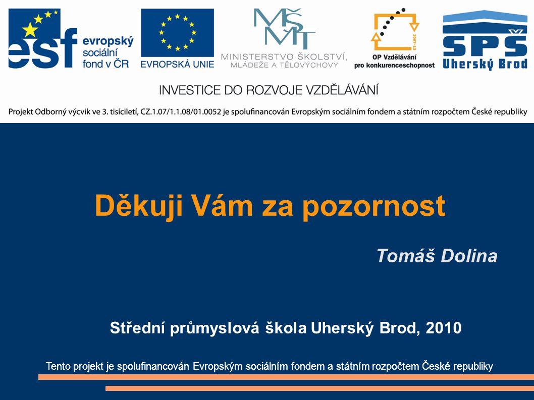 Děkuji Vám za pozornost Tomáš Dolina Tento projekt je spolufinancován Evropským sociálním fondem a státním rozpočtem České republiky Střední průmyslová škola Uherský Brod, 2010