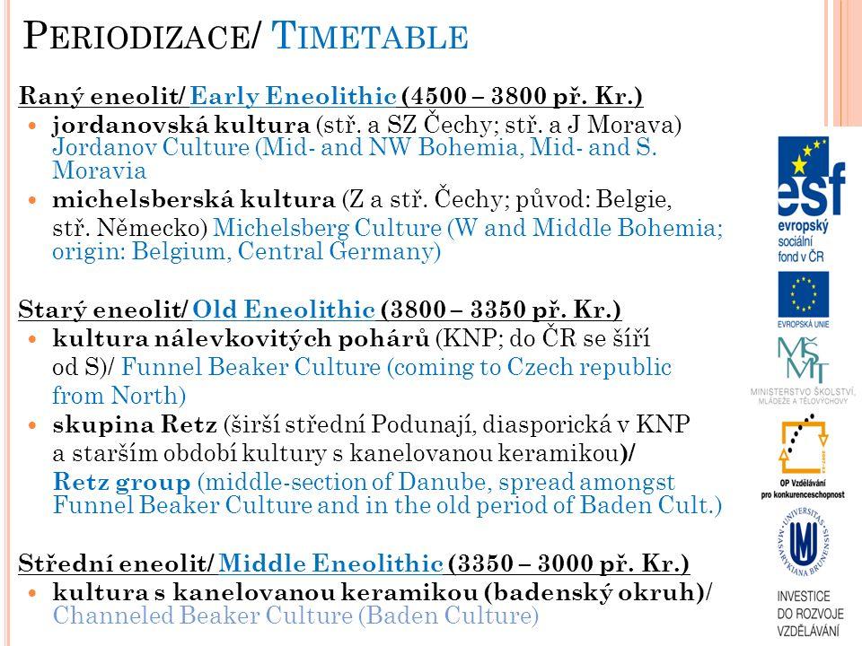 POZDNÍ ENEOLIT/ LATE ENEOLITHIC Kultura se šňůrovou keramikou/ Corded Ware Culture sídliště/ settlement – známa jen výjimečně (Olomouc-Slavonín), domy bez trvalých stop v terénu/ known very sporadically (Olomouc- Slavonín), houses without permanent traces in terrain pohřební ritus – kostrový (ve skrčené poloze): muži na pravém boku, ženy na levém boku; pohřebiště: rozsáhlá s mohylami, případně s dřevěnou konstrukcí (Vikletice, Kostelec u Holešova, Dřevohostice)/ burial rite: inhumation (crouched) on right side (men) or left side (women); burial side: large with barrows, even with wooden constructions (Vikletice, Kostelec u Holešova, Dřevohostice) Hrob ženy z Maref/ Women´s grave from Marefy Hrob ženy z Prahy/ Women´s grave from Prague