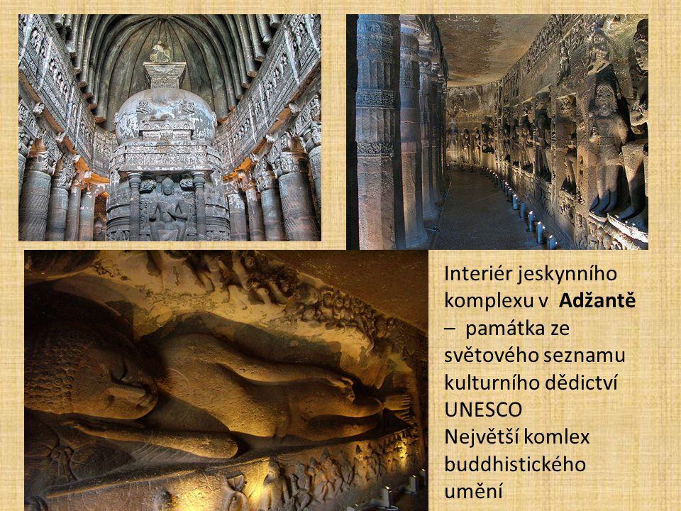 Interiér jeskynního komplexu v Adžantě – památka ze světového seznamu kulturního dědictví UNESCO Největší komlex buddhistického umění