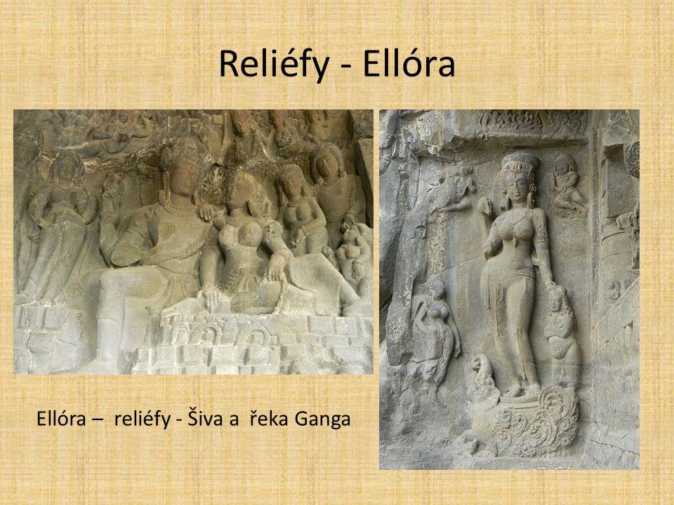Reliéfy - Ellóra Ellóra – reliéfy - Šiva a řeka Ganga