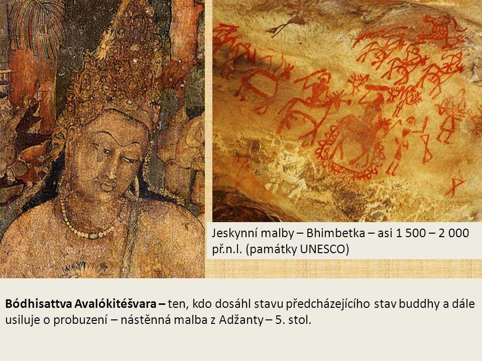 Malířství Bódhisattva Avalókitéšvara – ten, kdo dosáhl stavu předcházejícího stav buddhy a dále usiluje o probuzení – nástěnná malba z Adžanty – 5.