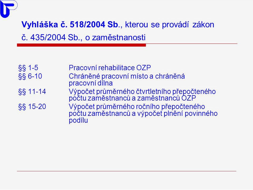 Vyhláška č. 518/2004 Sb., kterou se provádí zákon č.