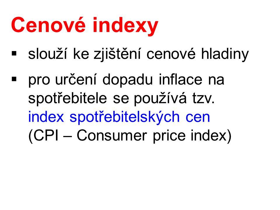 Index spotřebitelských cen  vyjadřuje cenovou hladinu pomocí ceny spotřebního koše – souboru výrobků a služeb, za které domácnosti nejčastěji utrácejí svůj příjem  porovnává za určité období náklady na nákup neměnného souboru statků