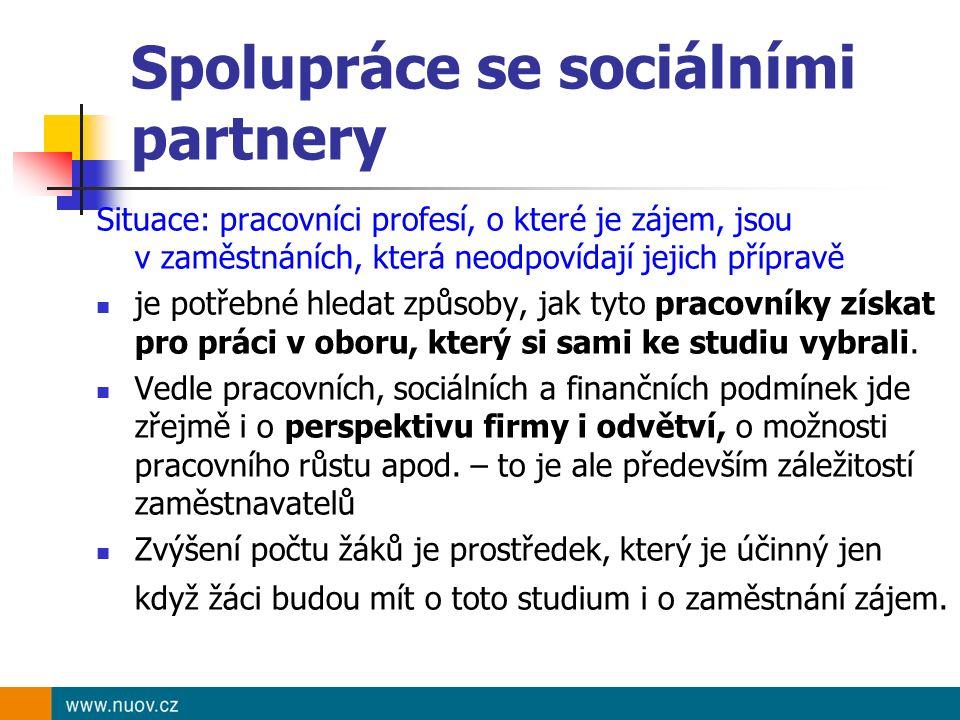 Spolupráce se sociálními partnery Situace: pracovníci profesí, o které je zájem, jsou v zaměstnáních, která neodpovídají jejich přípravě je potřebné h