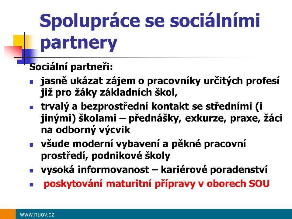 Spolupráce se sociálními partnery Sociální partneři: jasně ukázat zájem o pracovníky určitých profesí již pro žáky základních škol, trvalý a bezprostř