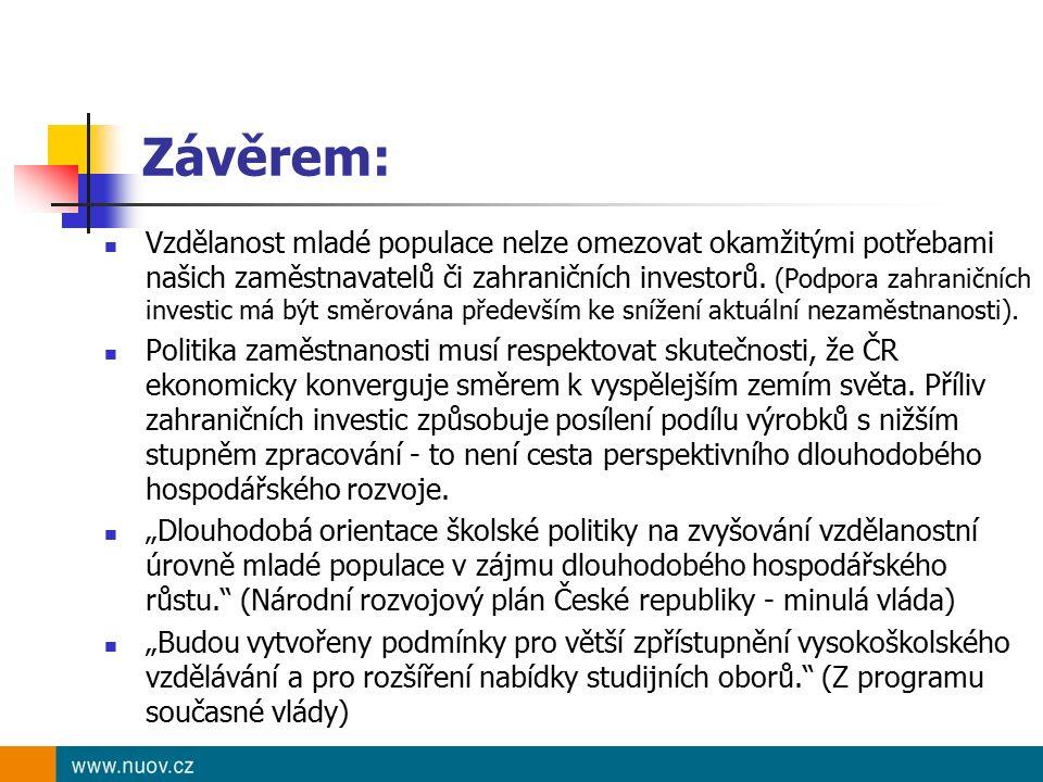 Závěrem: Vzdělanost mladé populace nelze omezovat okamžitými potřebami našich zaměstnavatelů či zahraničních investorů. (Podpora zahraničních investic