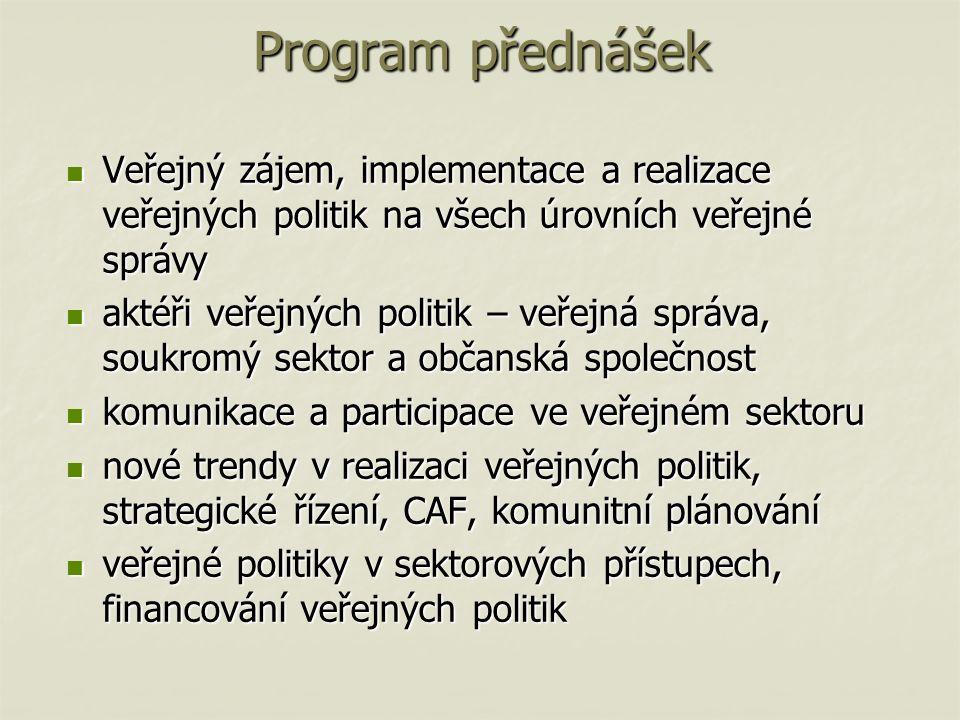 Program přednášek Veřejný zájem, implementace a realizace veřejných politik na všech úrovních veřejné správy Veřejný zájem, implementace a realizace veřejných politik na všech úrovních veřejné správy aktéři veřejných politik – veřejná správa, soukromý sektor a občanská společnost aktéři veřejných politik – veřejná správa, soukromý sektor a občanská společnost komunikace a participace ve veřejném sektoru komunikace a participace ve veřejném sektoru nové trendy v realizaci veřejných politik, strategické řízení, CAF, komunitní plánování nové trendy v realizaci veřejných politik, strategické řízení, CAF, komunitní plánování veřejné politiky v sektorových přístupech, financování veřejných politik veřejné politiky v sektorových přístupech, financování veřejných politik