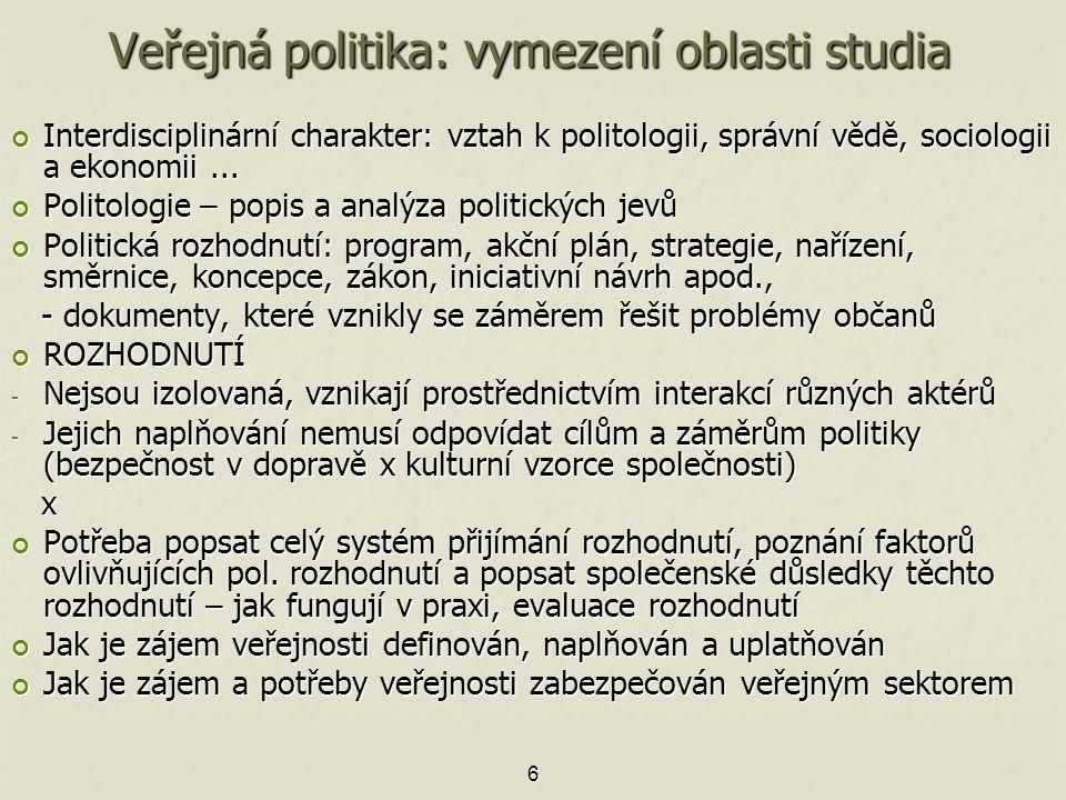 Veřejná politika: vymezení oblasti studia Interdisciplinární charakter: vztah k politologii, správní vědě, sociologii a ekonomii...