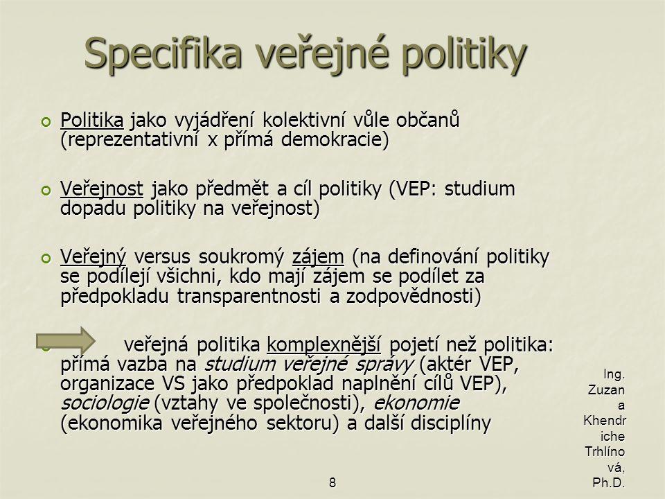 Specifika veřejné politiky Politika jako vyjádření kolektivní vůle občanů (reprezentativní x přímá demokracie) Veřejnost jako předmět a cíl politiky (VEP: studium dopadu politiky na veřejnost) Veřejný versus soukromý zájem (na definování politiky se podílejí všichni, kdo mají zájem se podílet za předpokladu transparentnosti a zodpovědnosti) veřejná politika komplexnější pojetí než politika: přímá vazba na studium veřejné správy (aktér VEP, organizace VS jako předpoklad naplnění cílů VEP), sociologie (vztahy ve společnosti), ekonomie (ekonomika veřejného sektoru) a další disciplíny veřejná politika komplexnější pojetí než politika: přímá vazba na studium veřejné správy (aktér VEP, organizace VS jako předpoklad naplnění cílů VEP), sociologie (vztahy ve společnosti), ekonomie (ekonomika veřejného sektoru) a další disciplíny 8 Ing.