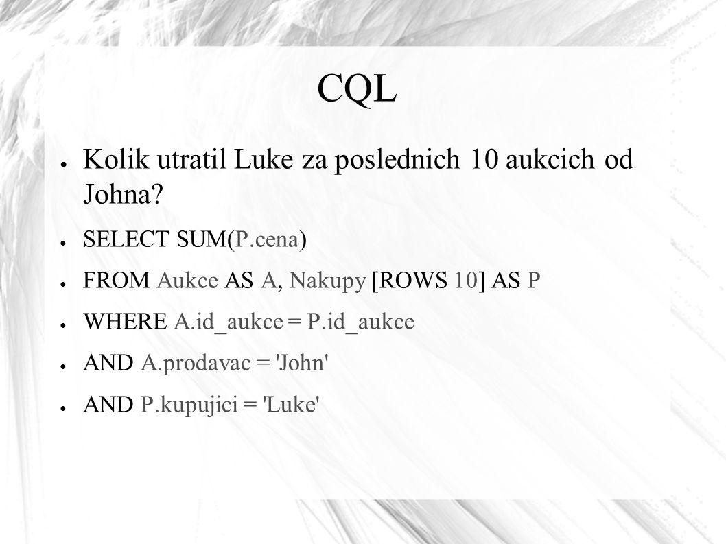 CQL ● Kolik utratil Luke za poslednich 10 aukcich od Johna? ● SELECT SUM(P.cena) ● FROM Aukce AS A, Nakupy [ROWS 10] AS P ● WHERE A.id_aukce = P.id_au