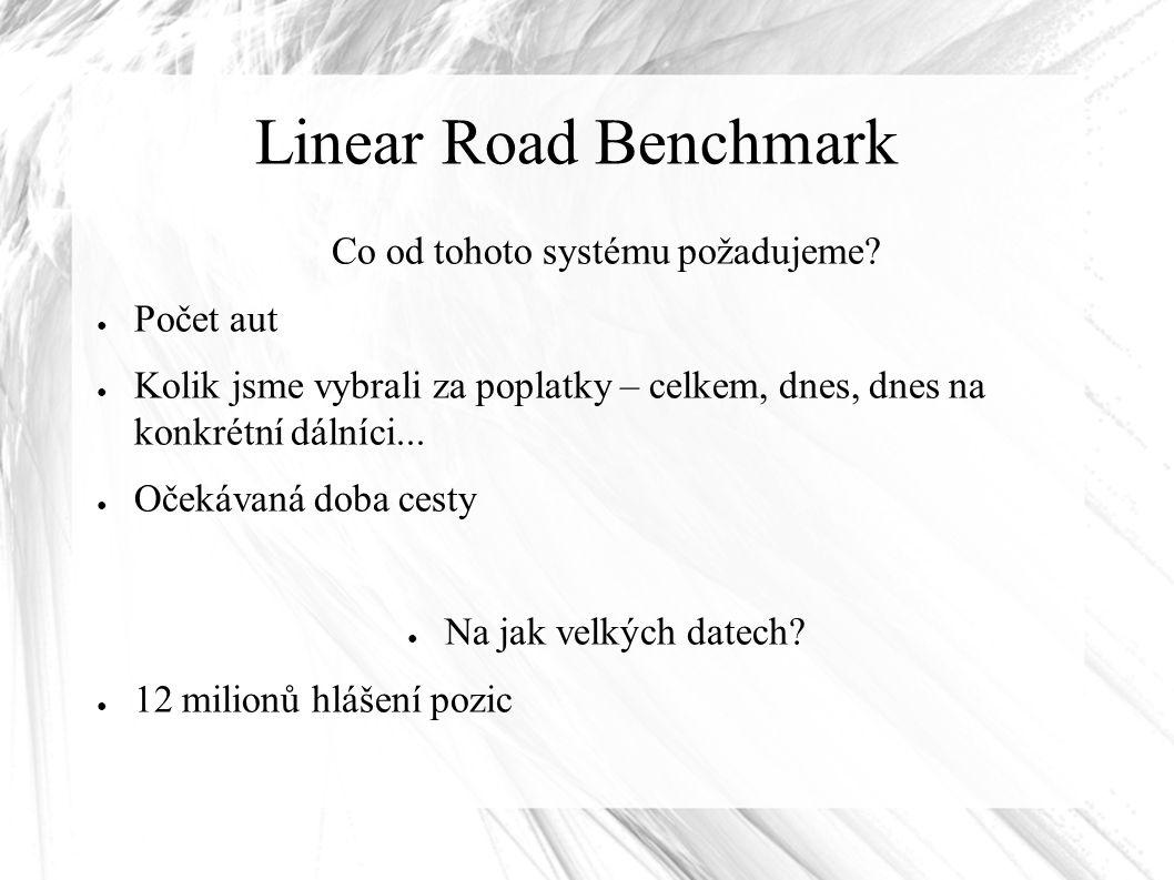 Linear Road Benchmark Co od tohoto systému požadujeme? ● Počet aut ● Kolik jsme vybrali za poplatky – celkem, dnes, dnes na konkrétní dálníci... ● Oče