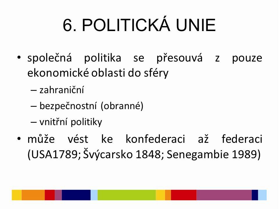 6. POLITICKÁ UNIE společná politika se přesouvá z pouze ekonomické oblasti do sféry – zahraniční – bezpečnostní (obranné) – vnitřní politiky může vést