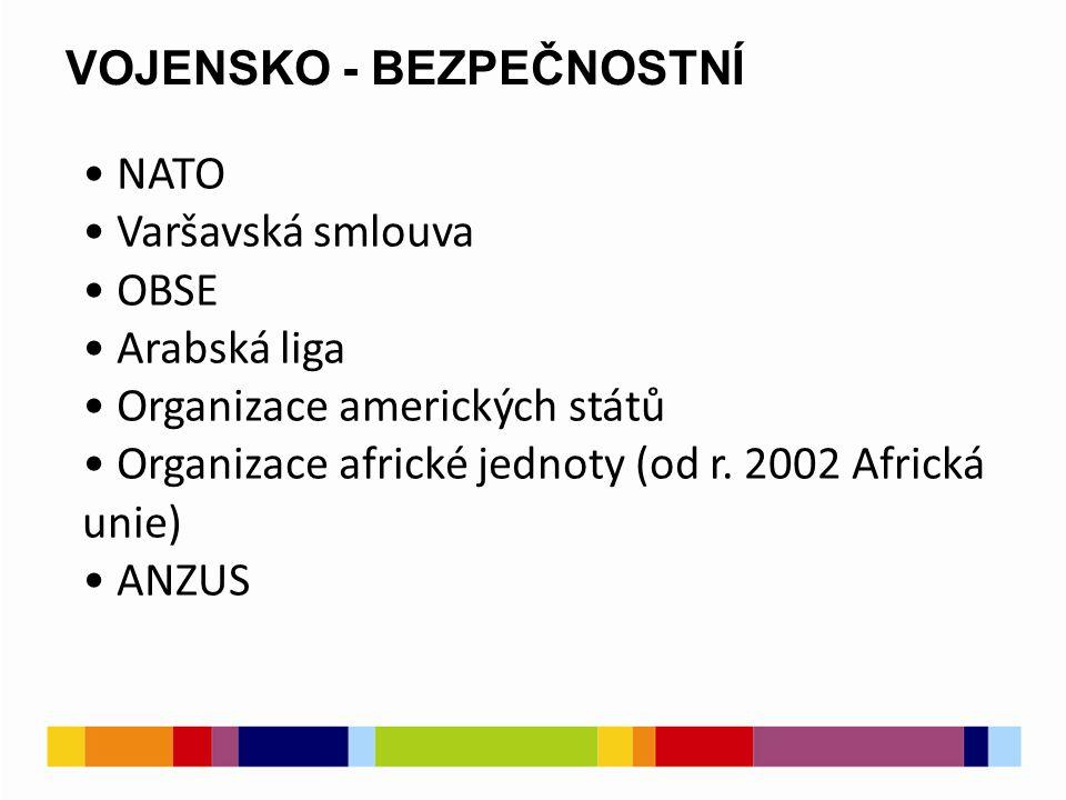VOJENSKO - BEZPEČNOSTNÍ NATO Varšavská smlouva OBSE Arabská liga Organizace amerických států Organizace africké jednoty (od r.
