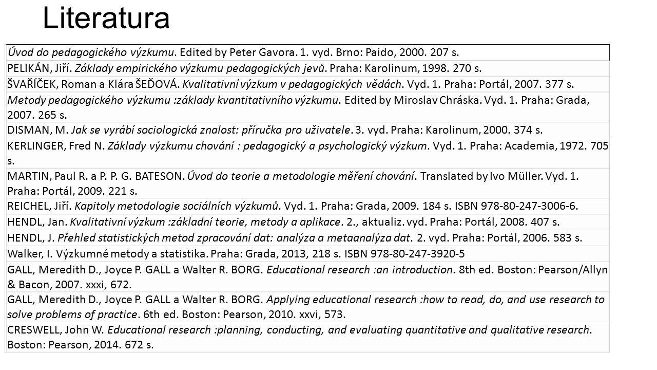 Literatura Úvod do pedagogického výzkumu. Edited by Peter Gavora.